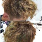 ハイトーンアッシュにグリーン(緑)なメンズヘア【蓮くん】の髪