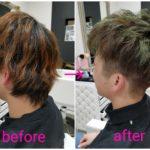 グリーンアッシュなメンズショートヘア【蓮くん】の髪