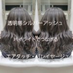 透明感シルバーアッシュ❗ハイライトで繋げるエアータッチバレイヤージュ【杏ちゃん】の髪
